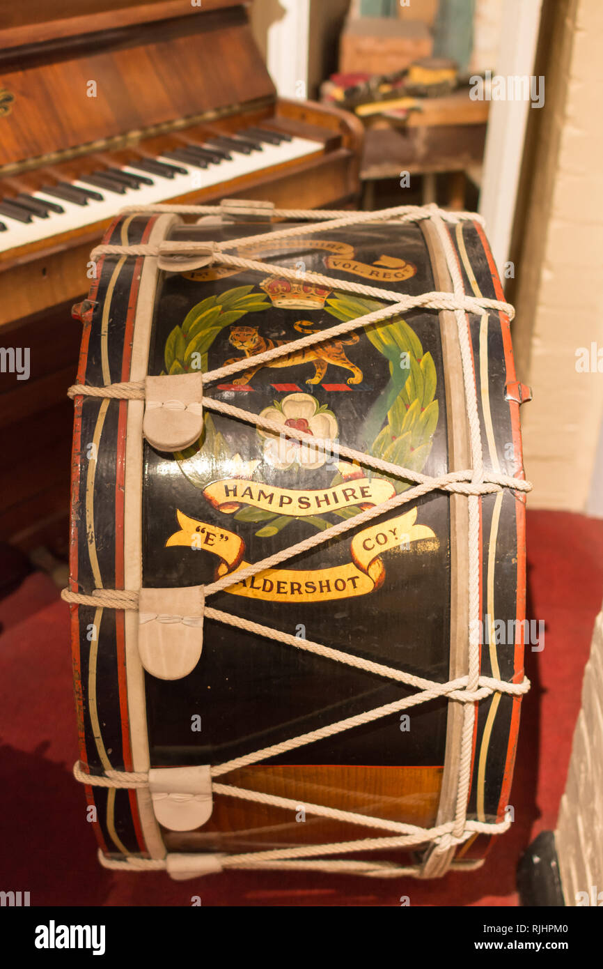An army drum manufactured by Henry Potter & Co in Aldershot, Hampshire, UK, displayed in Aldershot Military Museum Stock Photo