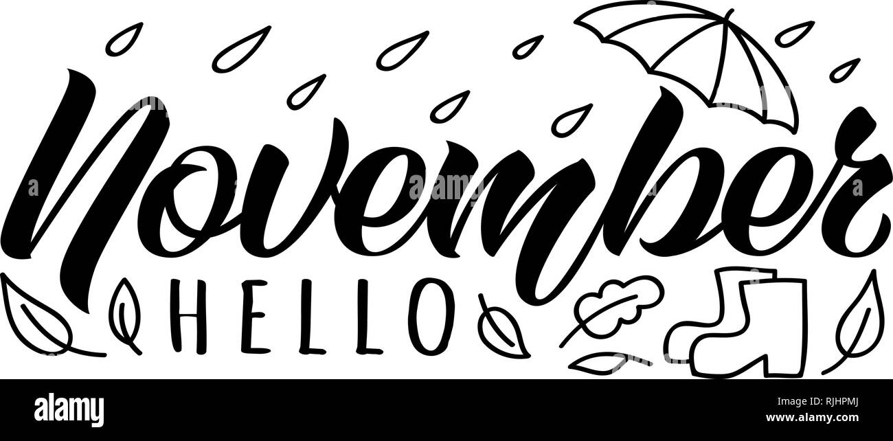 Hello November Handdrawn Lettering Card With Doodle Umbrella