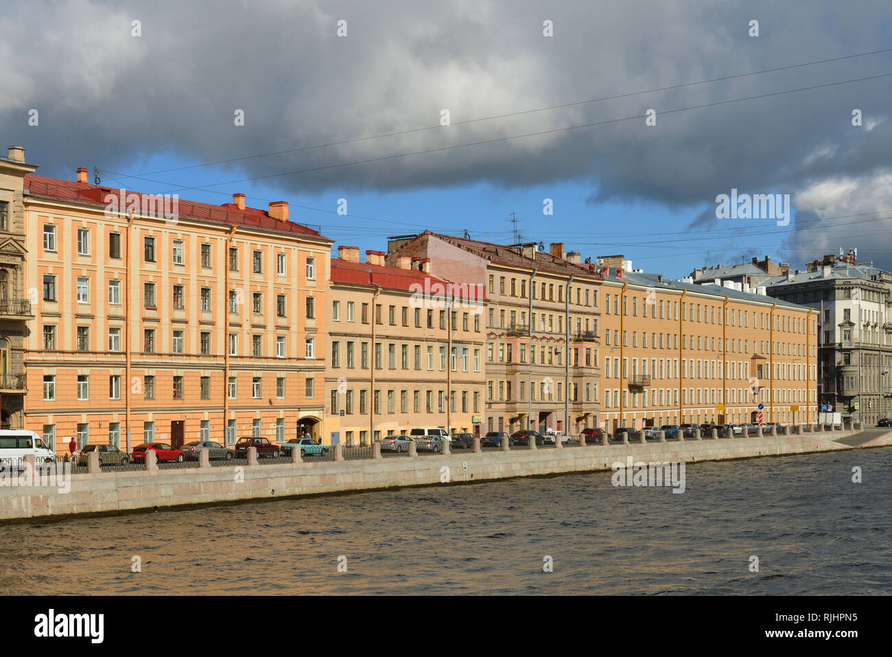 Embankment of Fontanka River and old former Profitable houses in autumn - Stock Image