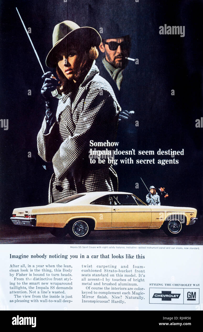 A 1966 magazine advertisement for the Chevrolet Impala car. - Stock Image