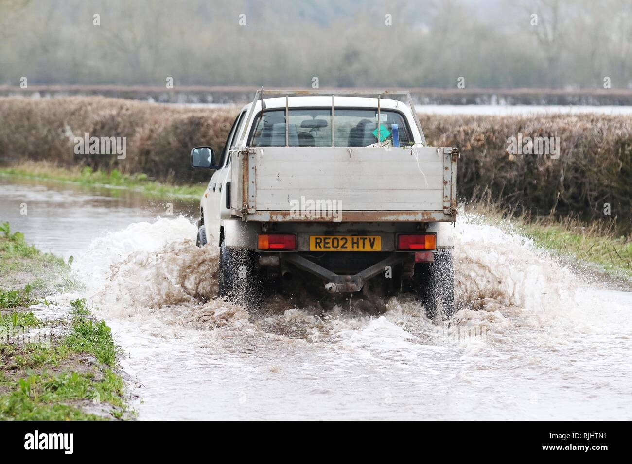 Flooding on lanes around the River Severn, near Gloucester  Picture by Antony Thompson - Thousand Word Media, NO SALES, NO SYNDICATION. Contact for mo - Stock Image