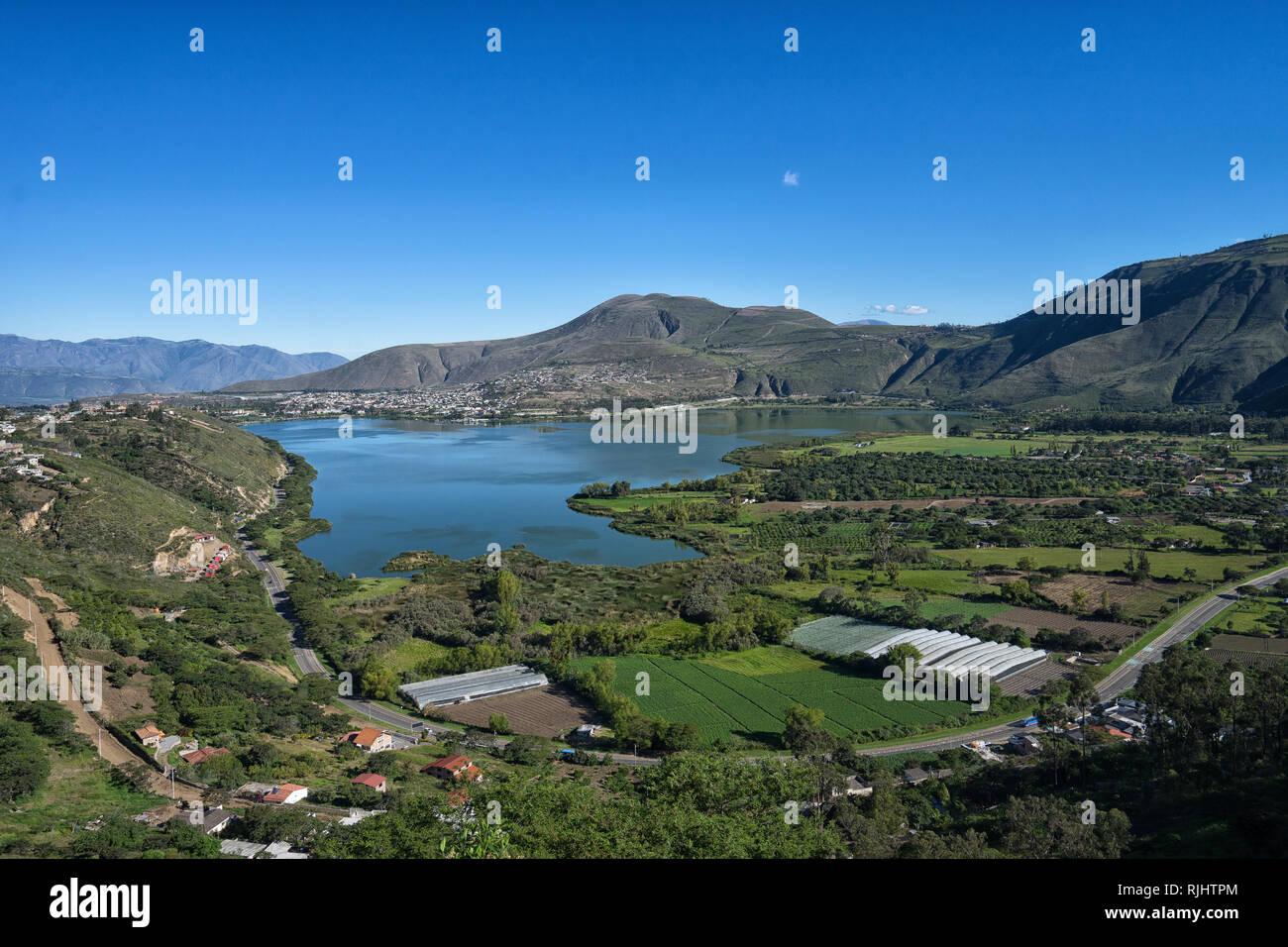 the Yahuarcocha Lake seen from above in Ibarra Ecuador - Stock Image