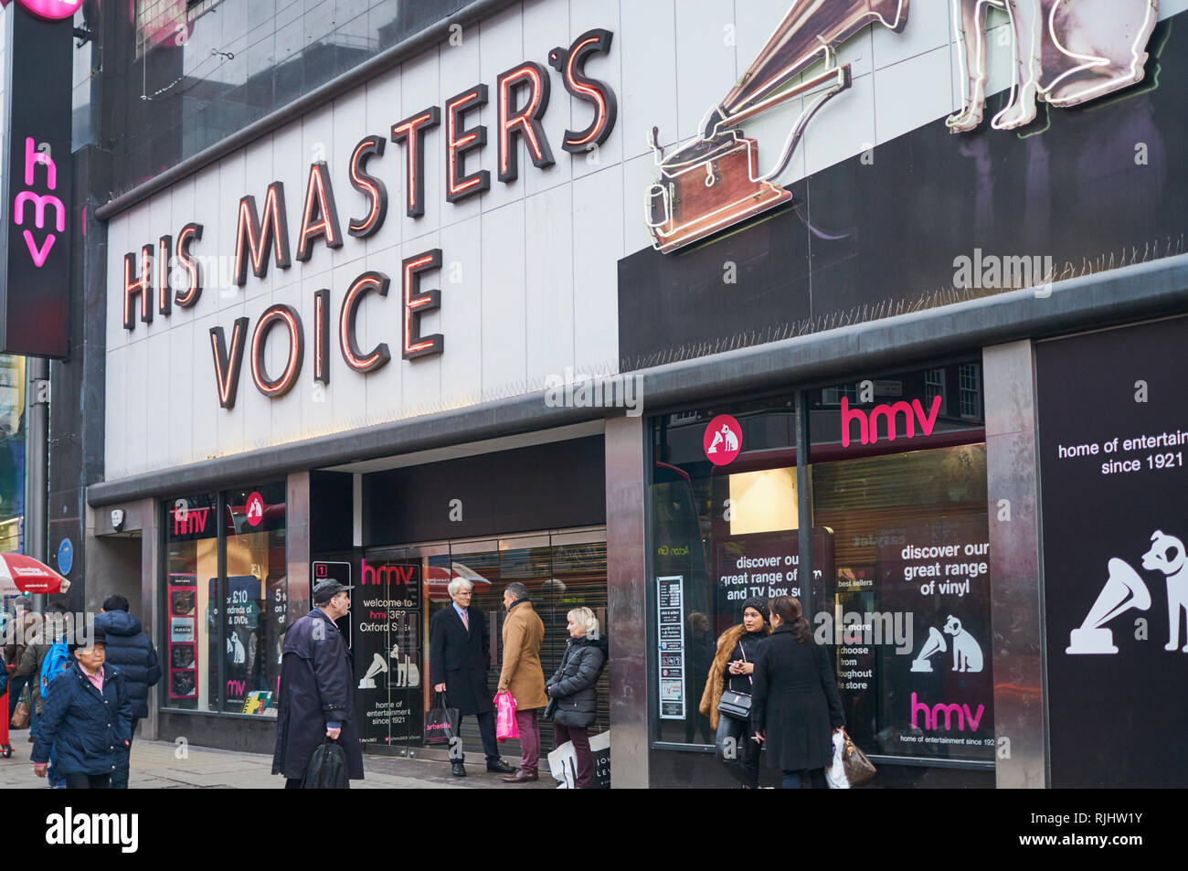 HMV's flagship store on London's Oxford Street, the day after its final closure on the 5th February 2019 - Stock Image