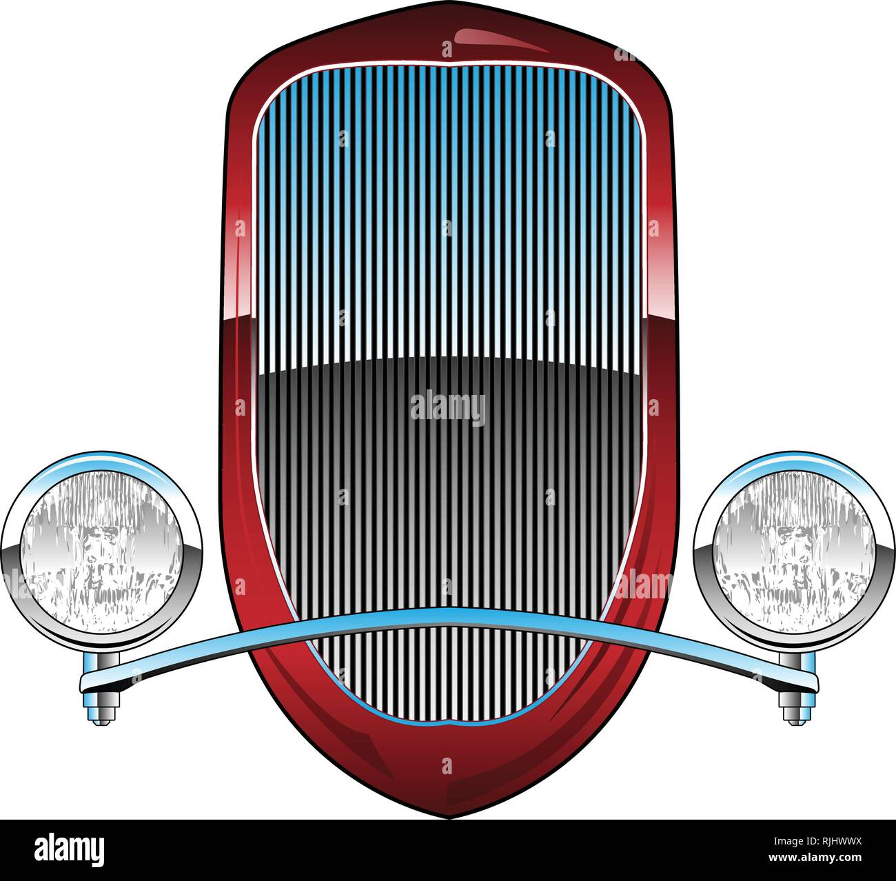 1930s Style Hot Rod Car Grill with Headlights and Chrome Trim Vector Illustration - Stock Vector