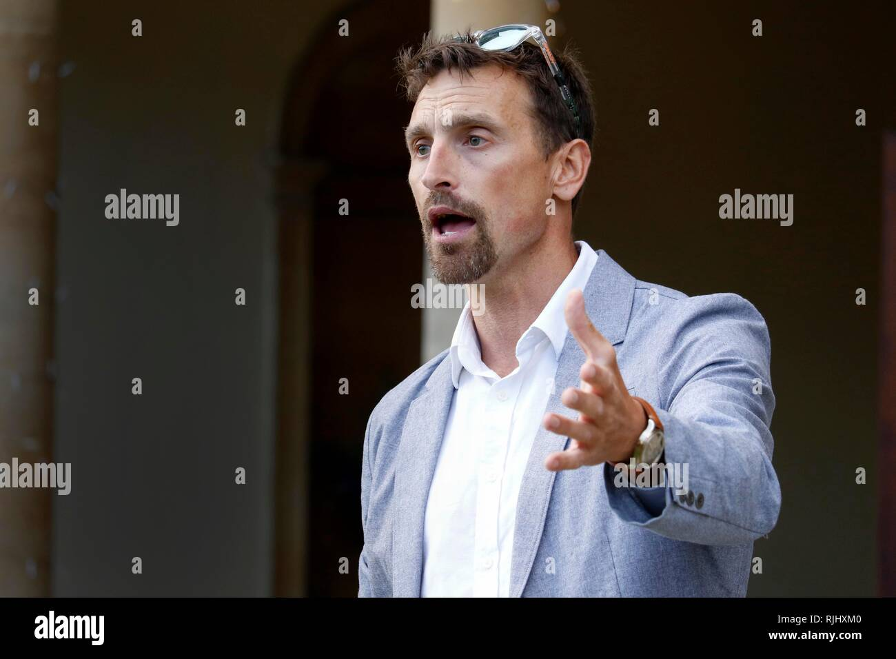 Kenton Cool, the mountaineer and adventurer, the guest speaker at a reception held at Hatherop Castle School, near Cirencester, Gloucestershire. 20th  - Stock Image