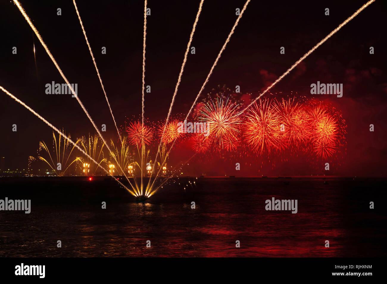 Kuwait City fireworks - Stock Image