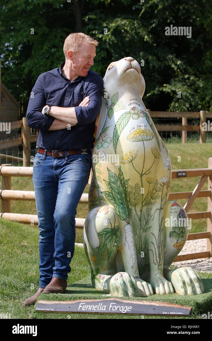 Adam Henson launches the 2018 Cotswold AONB Hare Trail, at his Cotswold Farm Park, near Kineton, Gloucestershire, where he has Fenella Forage Hare by  - Stock Image