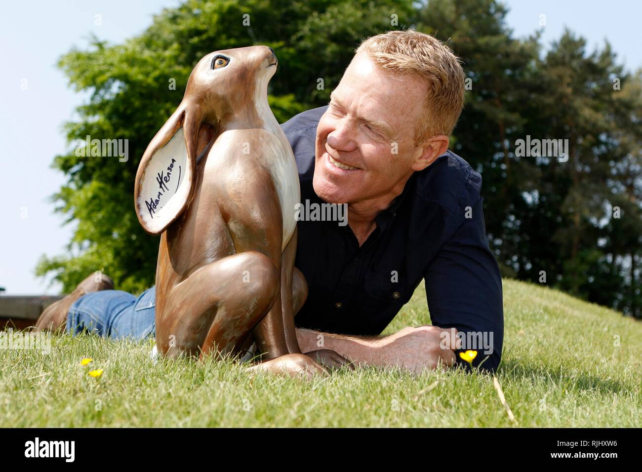 Adam Henson launches the 2018 Cotswold AONB Hare Trail, at his Cotswold Farm Park, near Kineton, Gloucestershire. 21st May 2018 - Stock Image
