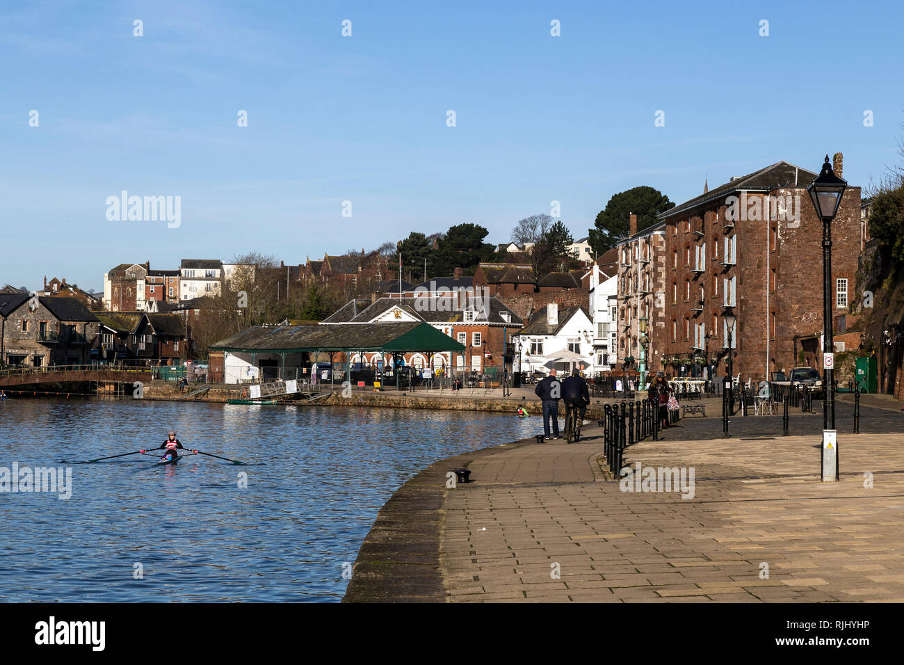 Exeter Quay,Exeter Quay, also known as Exeter Quayside, is a part of the city of Exeter next to the River Exe and the Exeter Ship Canal. rowing Exe - Stock Image