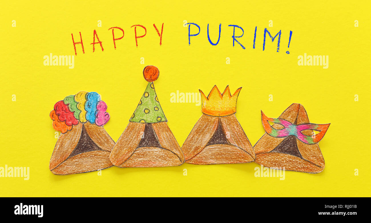 Purim celebration concept (jewish carnival holiday). Traditional hamantash cookies cutted from paper and painted - Stock Image