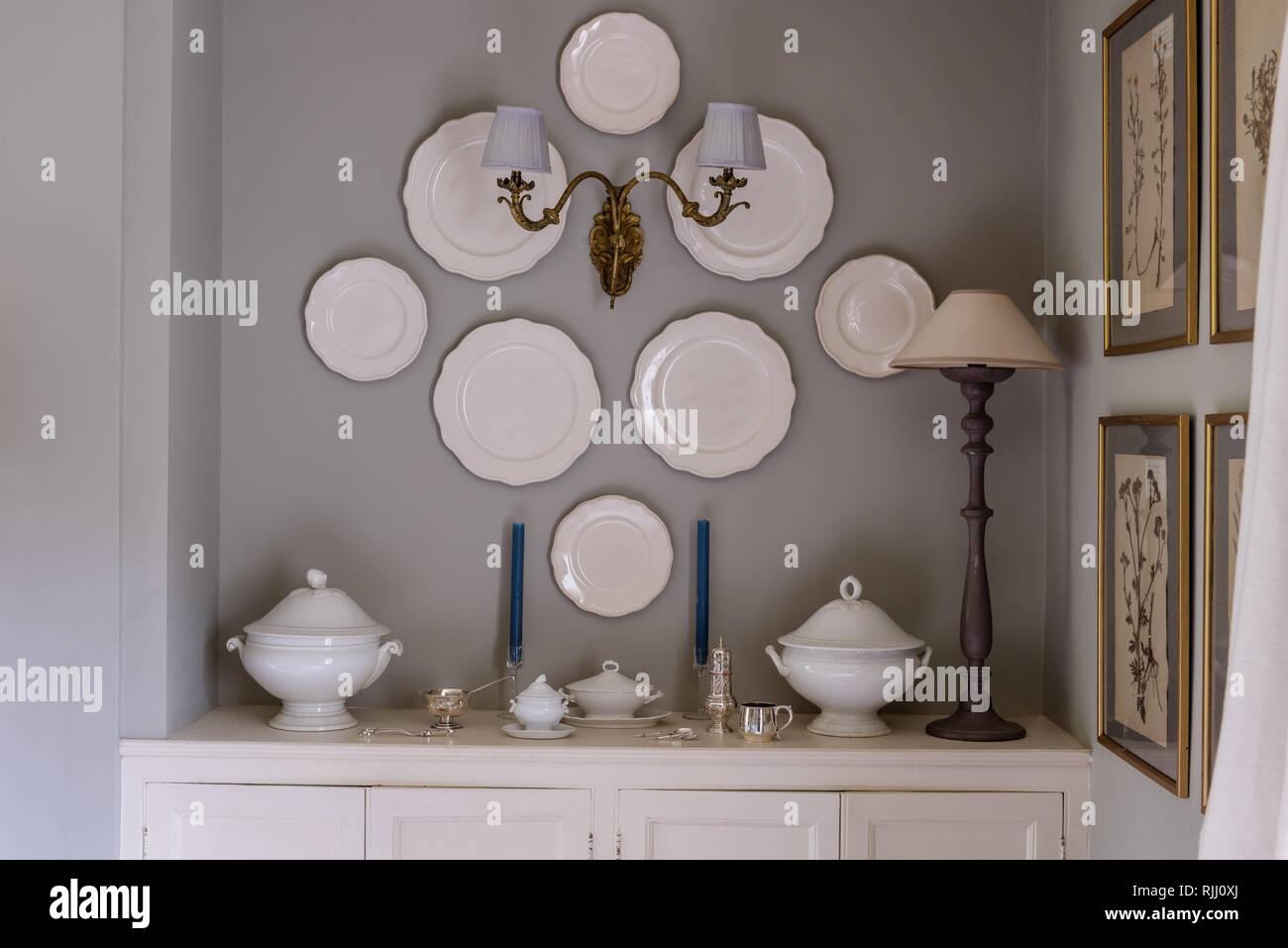 Decorative plates wall mounted Stock Photo
