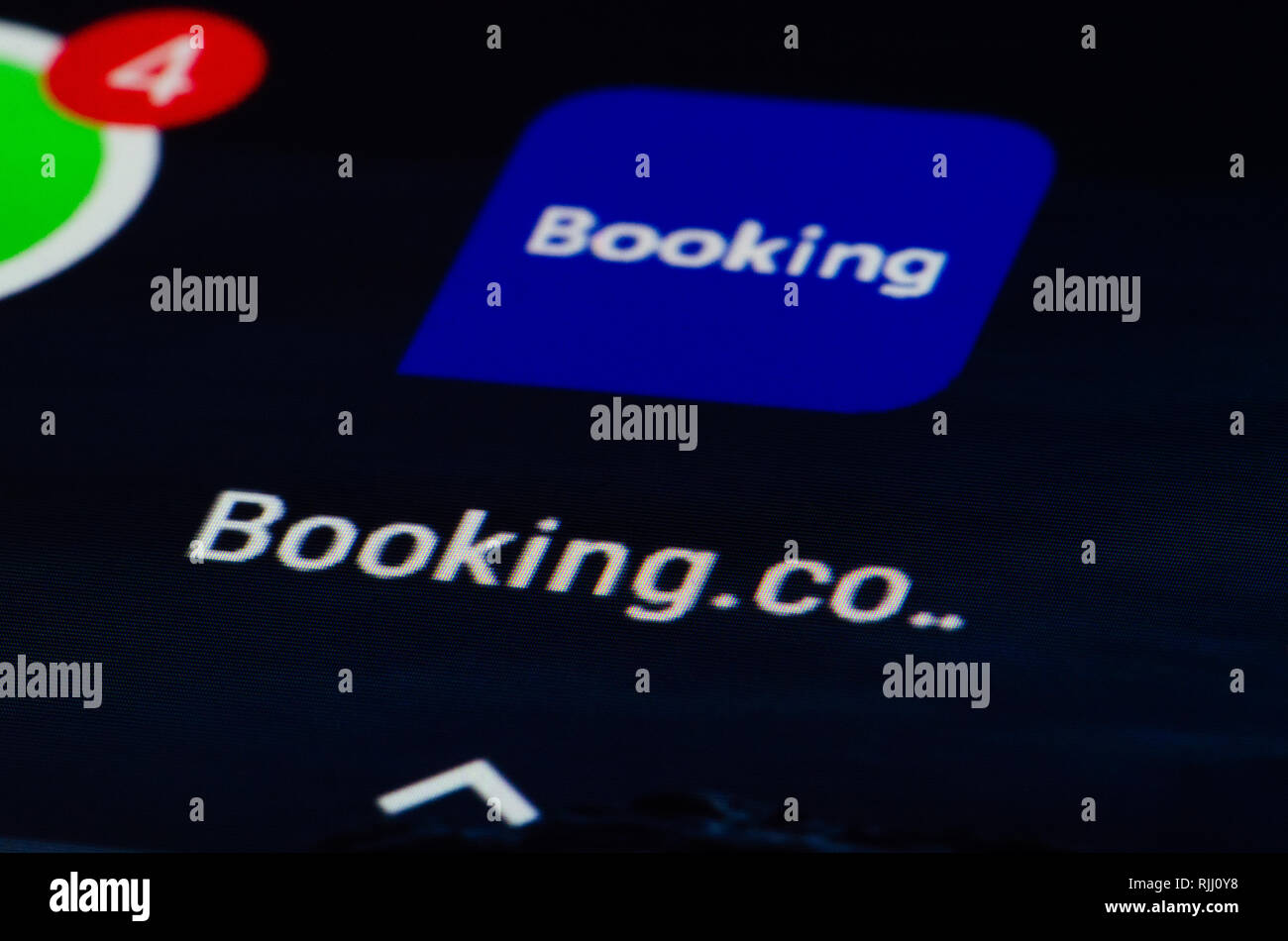Booking.com app, travel fare aggregator website and travel metasearch engine for lodging reservations and accommodations, hotel and home stay Stock Photo
