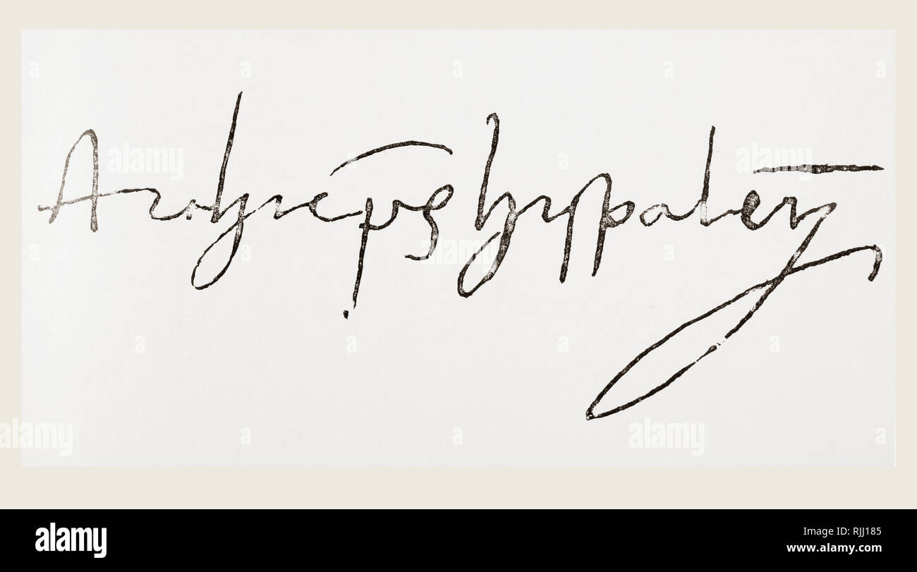 Signature of Diego de Deza, 1444 – 1523.  Theologian and inquisitor of Spain. He succeeded Tomás de Torquemada to the post of Grand Inquisitor during the Spanish Inquisition.  From La Ilustracion Espanola y Americana, published 1892. - Stock Image