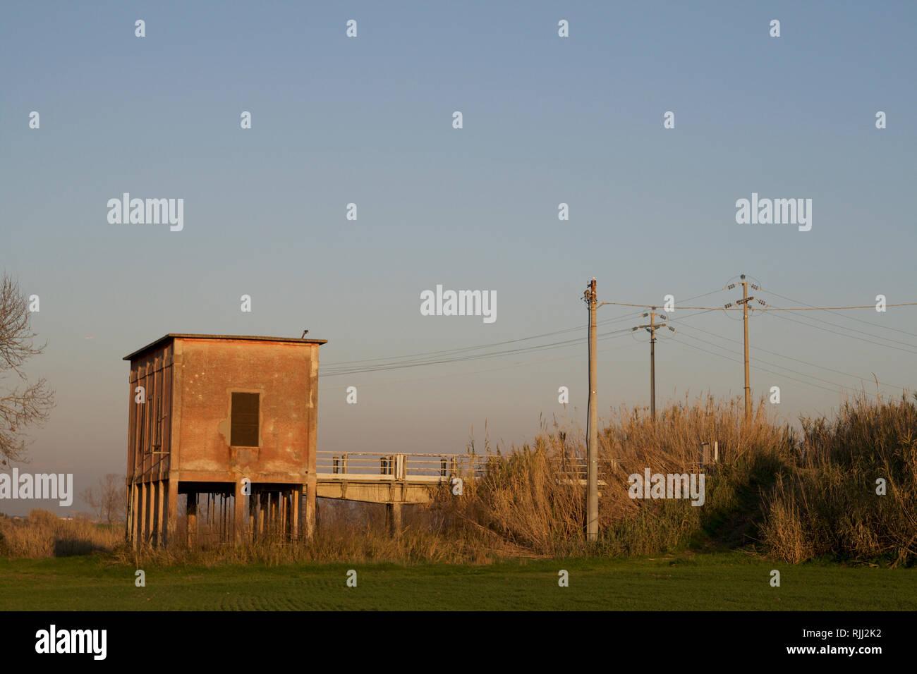 Ostia Antica-Fishing trebuchet at Impianto di sollevamento I PIani Stock Photo