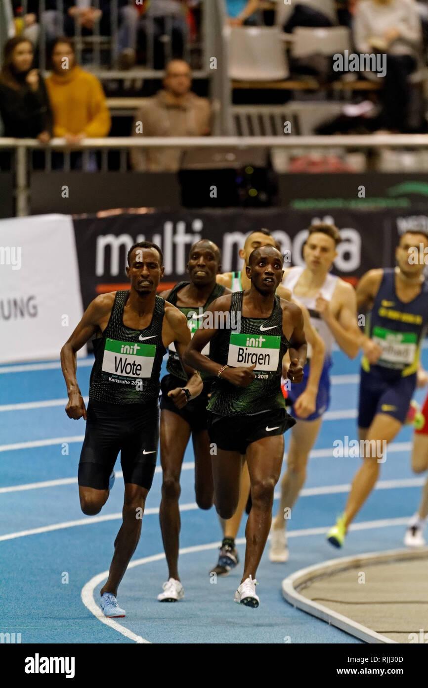 1500m, Vincent Kibet, KEN, (winner) at the IAAF Indoor Meeting Karlsruhe, 2019 - Stock Image