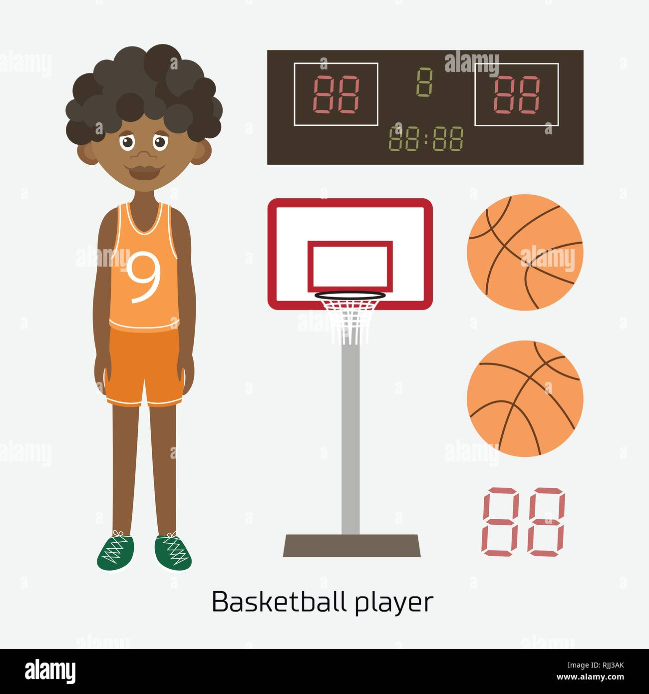 Vector Illustration of a Black Boy Holding Basketball - Stock Vector