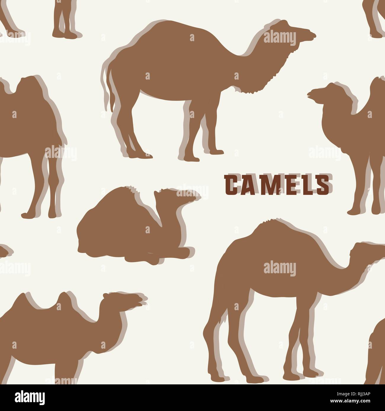 Camel Silhouettes set pattern. Vector illustration EPS 10 - Stock Image