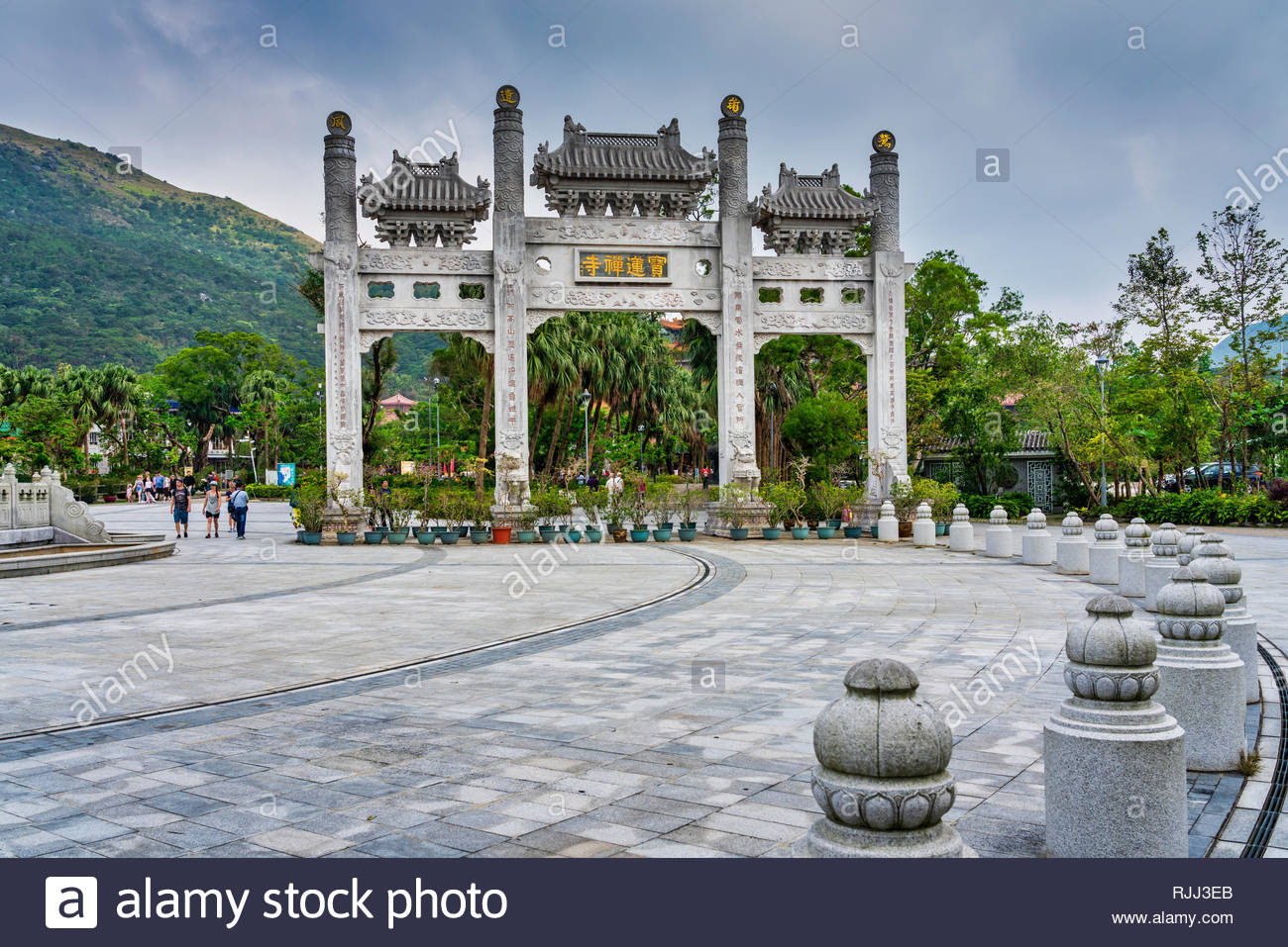 The Po Lin Monastery gate on Lantau Island, Hong Kong, China, Asia. - Stock Image