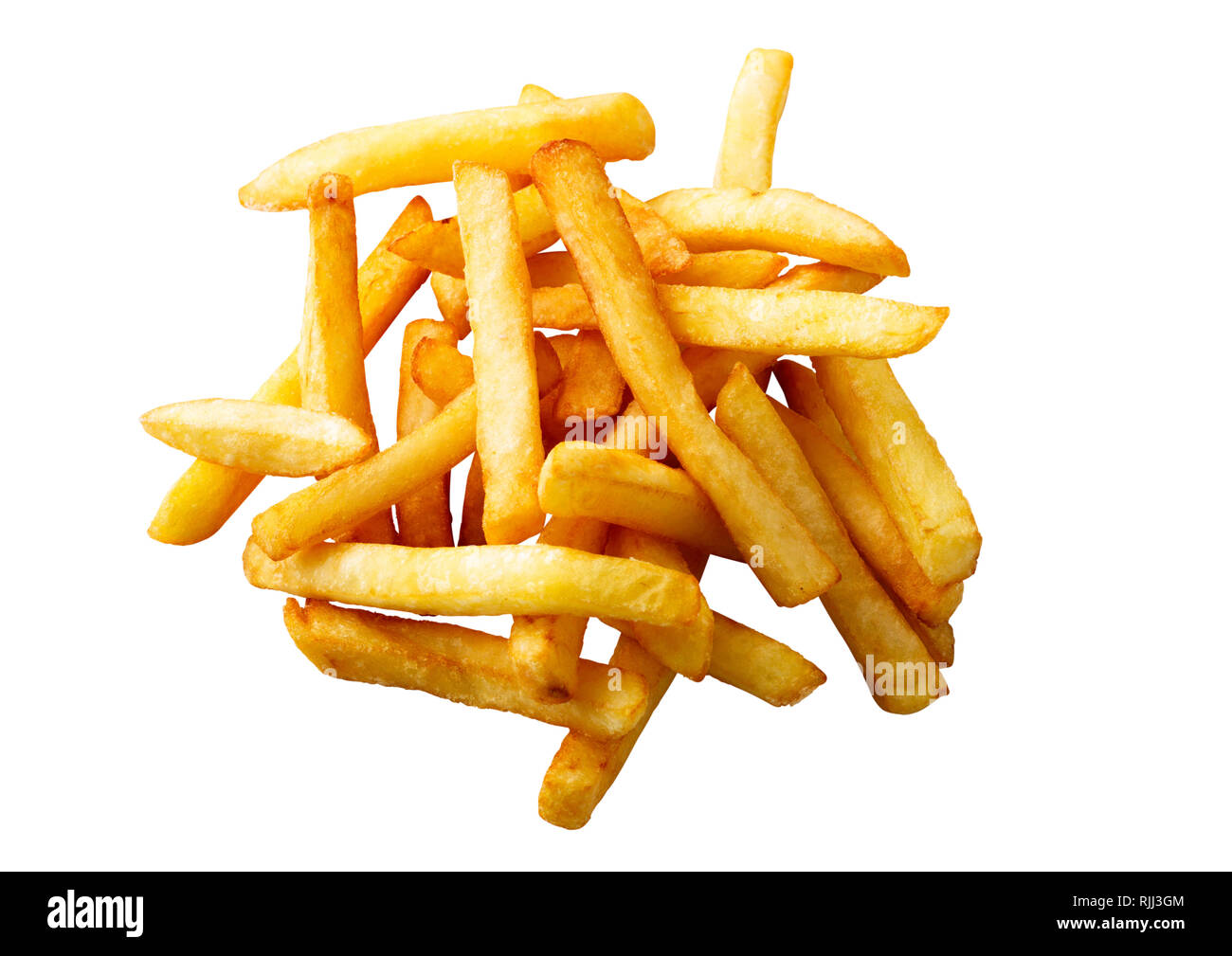 Heap of french fries isolated on white against white background - Stock Image
