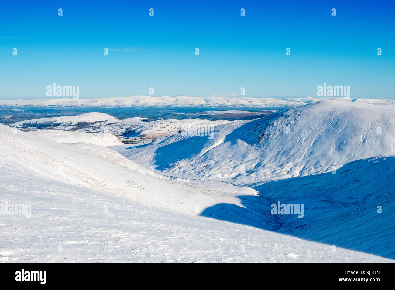 Deepdale from Watsons Dodd in winter snow. Lake District National Park, Cumbria,UK - Stock Image