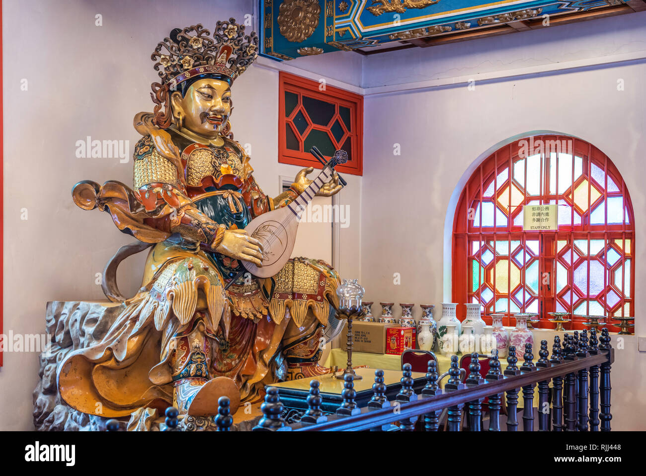 A Buddha god at the Po Lin Monastery on Lantau Island, Hong Kong, China, Asia. - Stock Image