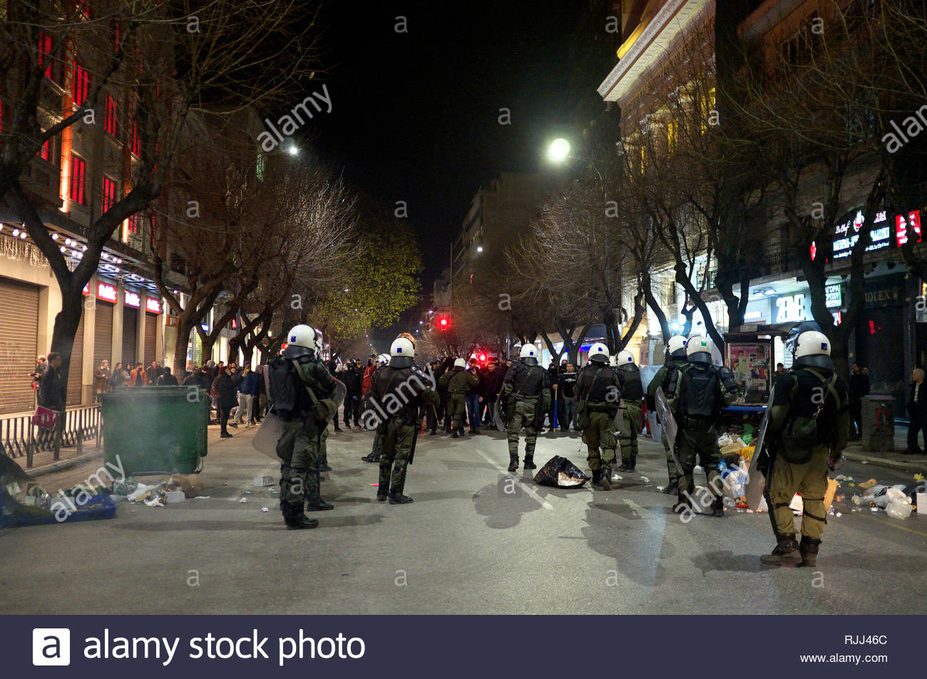 Greek riot police take up positioning against agitators during demonstrations regarding the Macedonian name dispute. Thessaloniki, Greece Jan 2019. Stock Photo