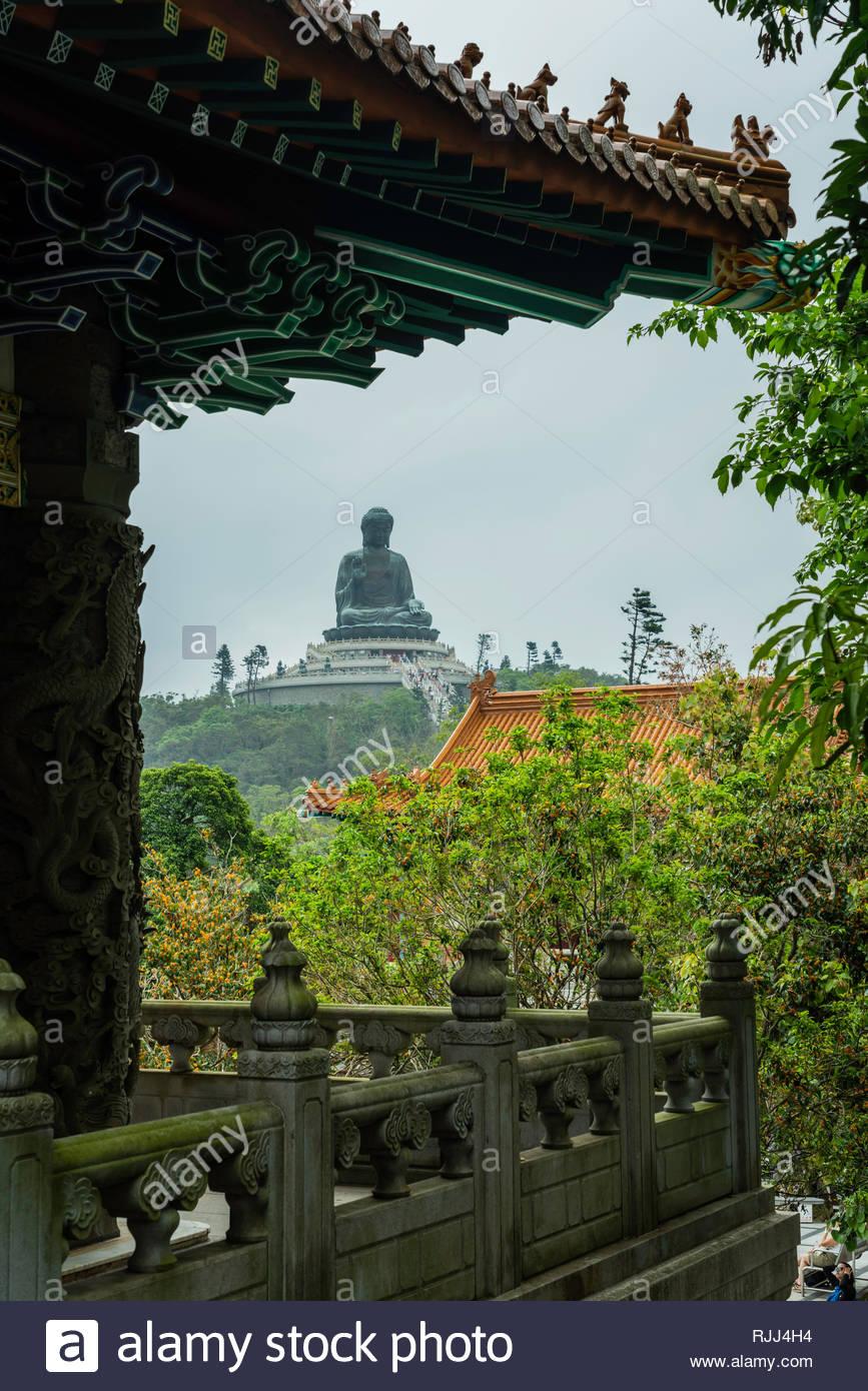The Big Budda and the Po Lin Monastery on Lantau Island, Hong Kong, China, Asia. - Stock Image