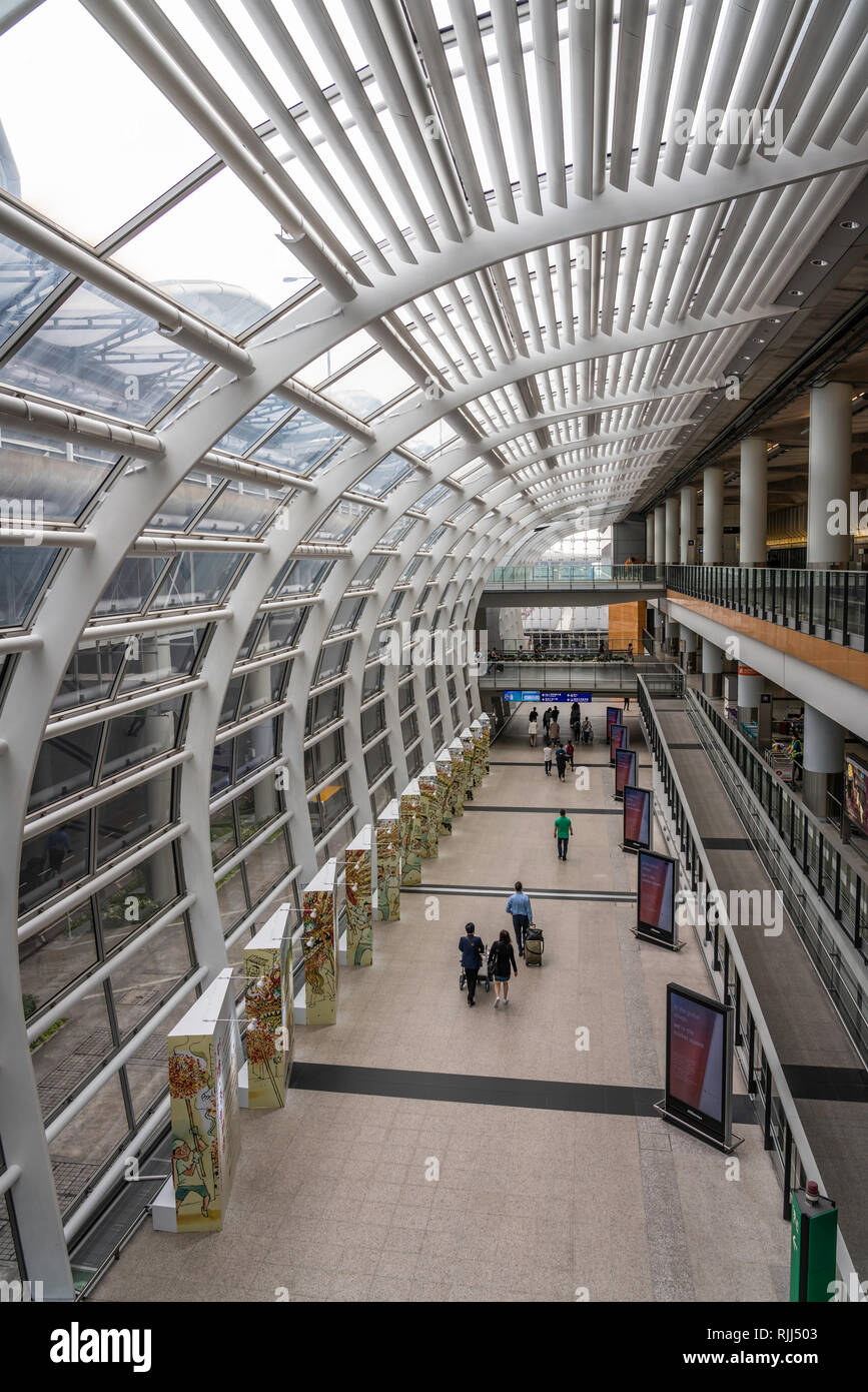 Building architecture at the Chek Lap Kok Airport in Hong Kong, China, Asia. Stock Photo