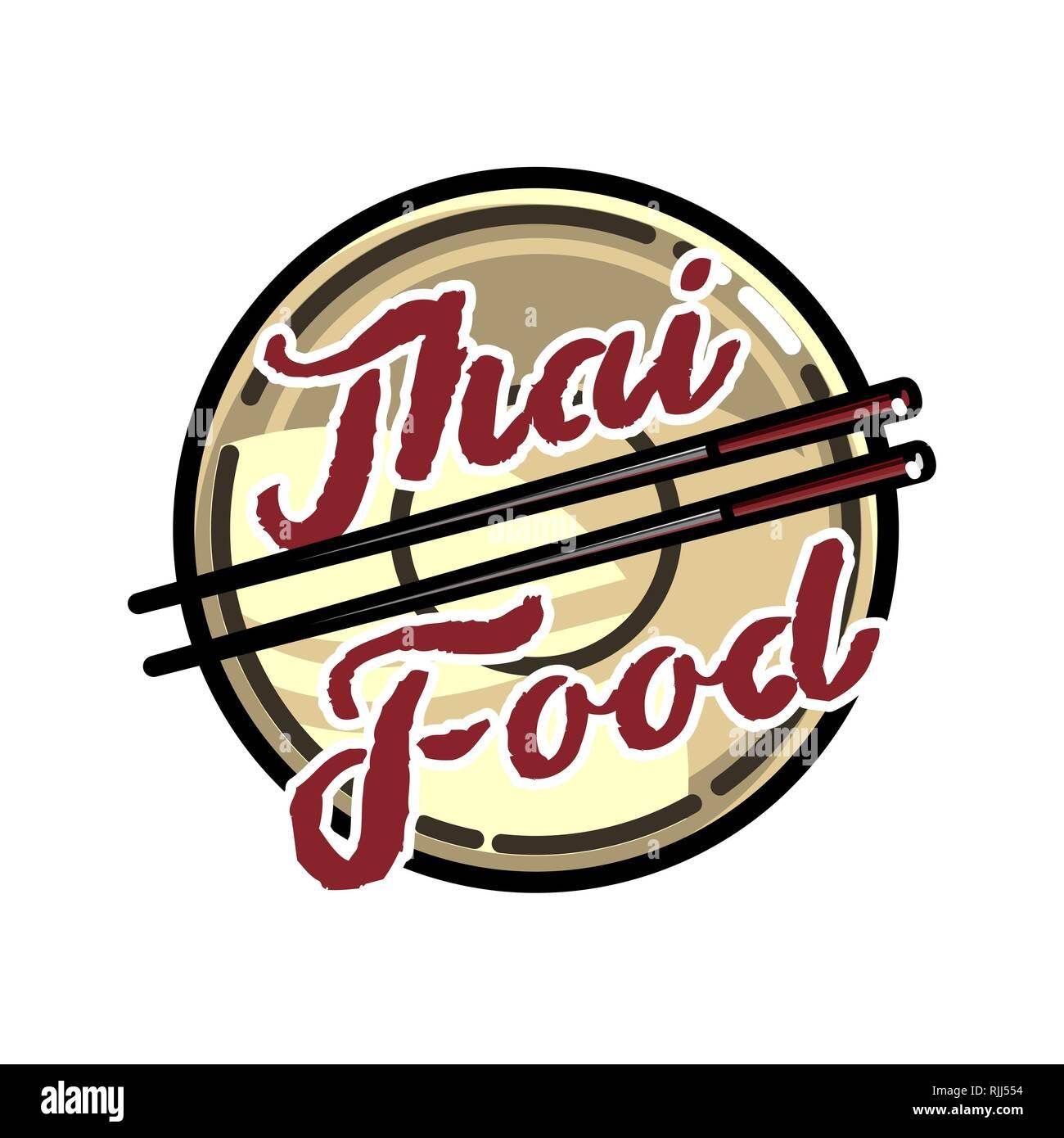 Color Vintage Thai Food Emblem Logo Badges Banners Emblem For Asian Food Restaurant Vector Illustration Stock Vector Image Art Alamy