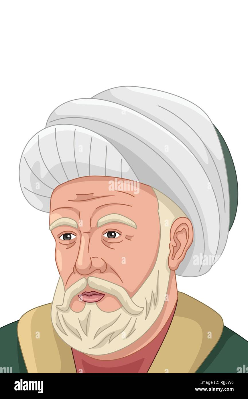 A vector illustration of Al-Farabi Muslim Philosopher - Stock Vector
