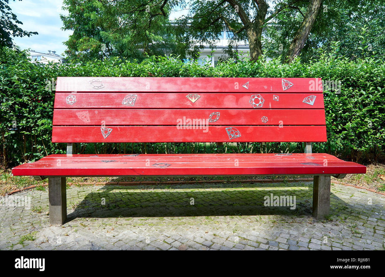 Strange Red Wooden Bench In Street Art Design On The Baltic Sea Pabps2019 Chair Design Images Pabps2019Com