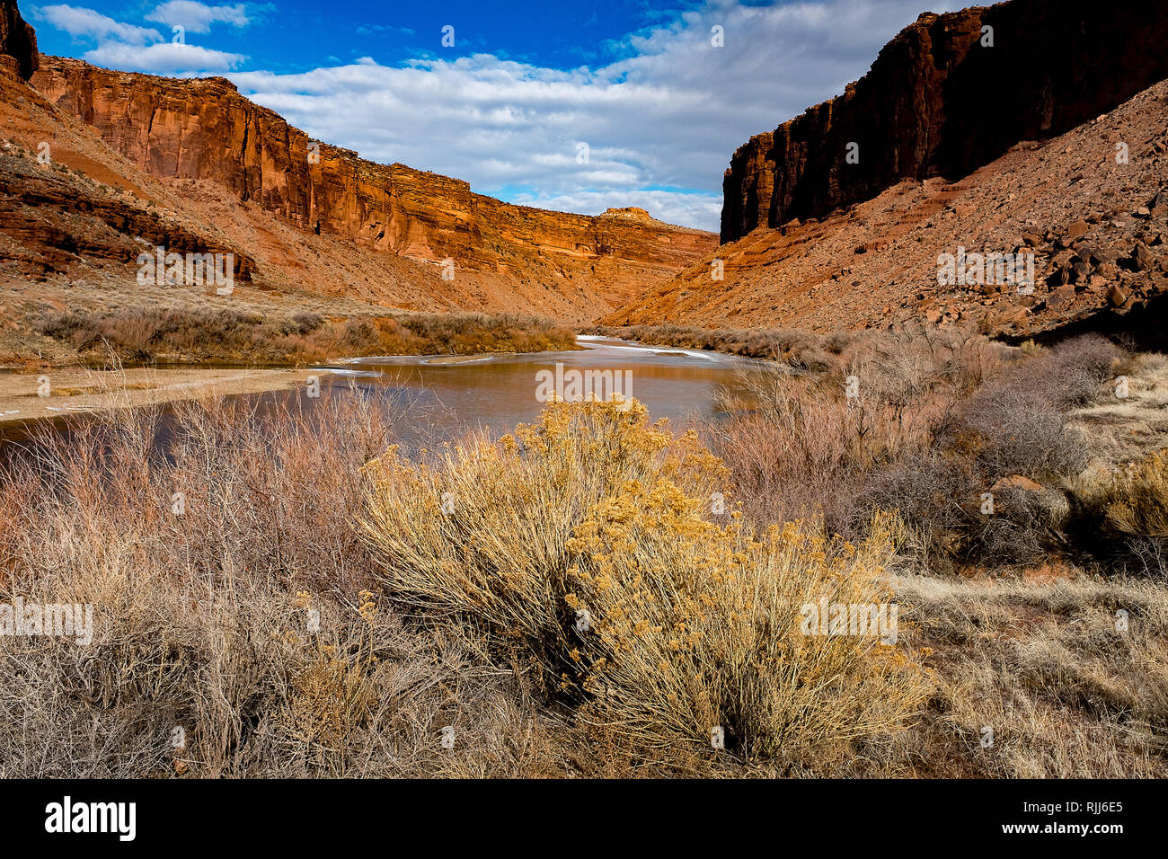 January 2019: The Colorado River winds its way along Utah Highway128 and provides a scenic drive into the red sandstone canyons near Moab, Utah. - Stock Image