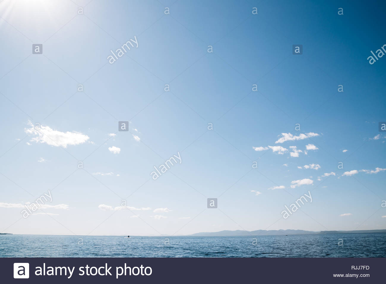 Blue sea and sky in Vladivostok, Russia - Stock Image