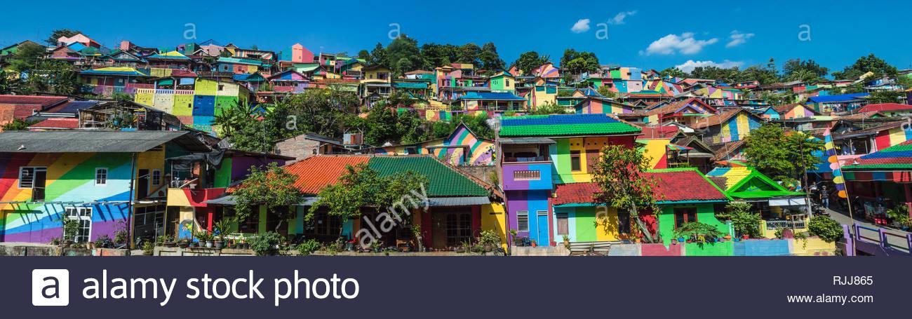 Panoramic shot of Kalisari Rainbow Village in Semarang, Central Java, Indonesia. - Stock Image