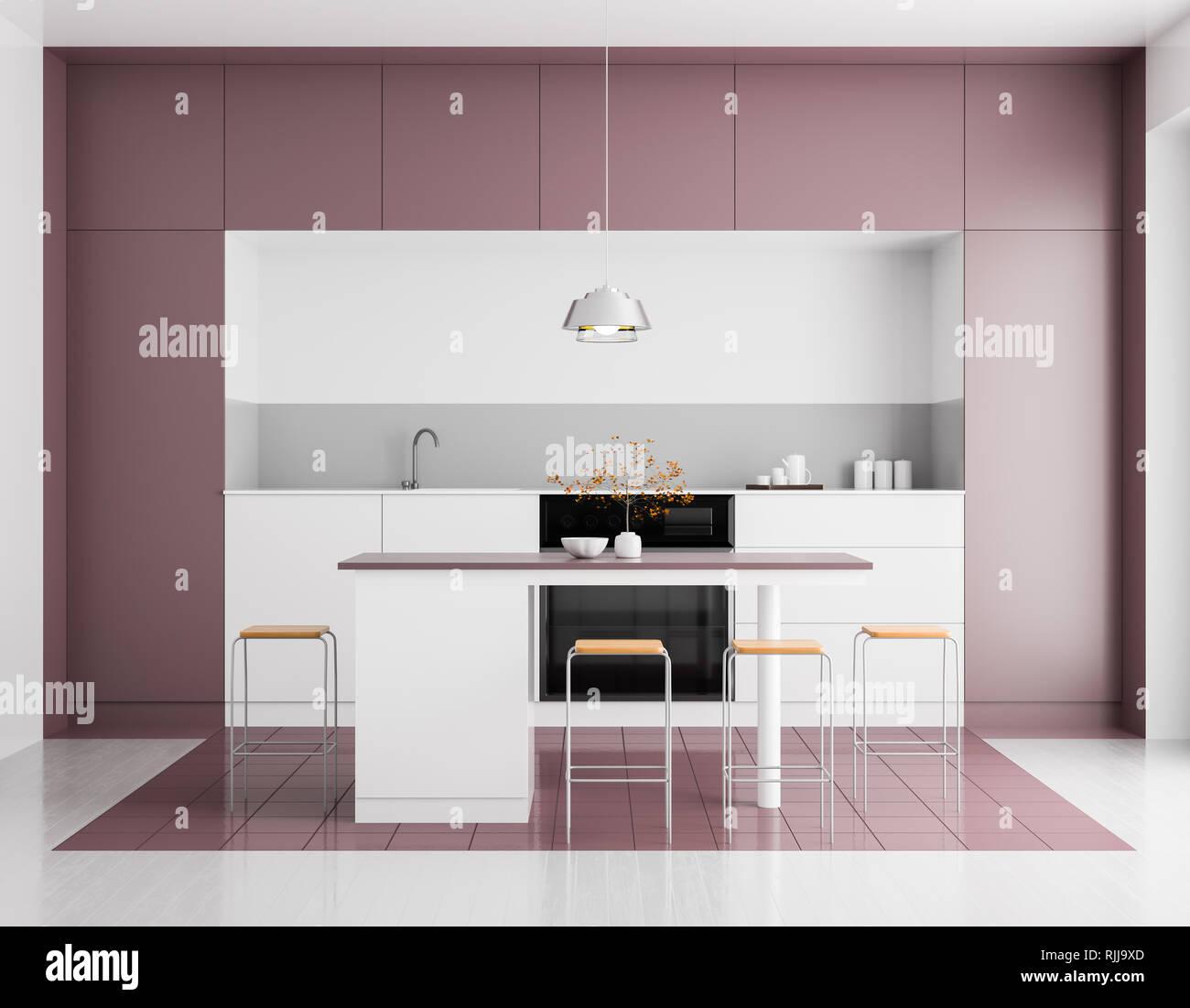 Modern Bright Kitchen Interior Minimalistic Kitchen Design With Bar And Stools 3d Illustration Stock Photo Alamy