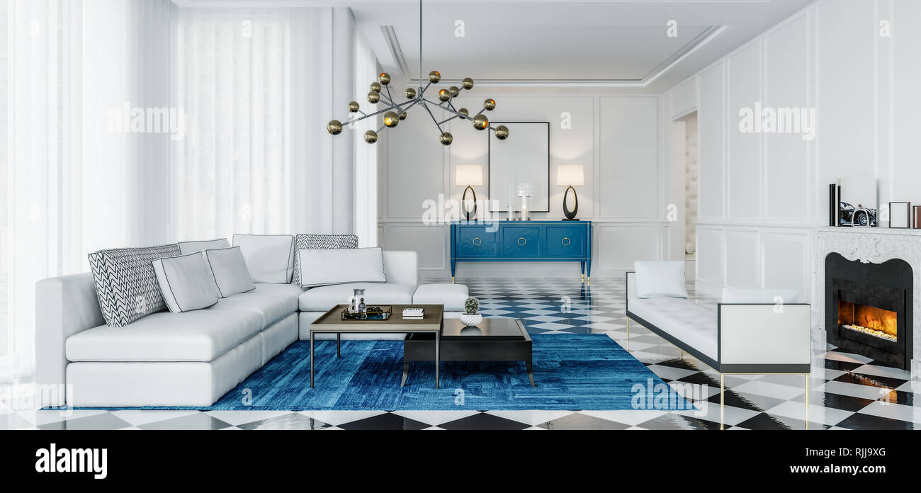 Modern Interior Design Living Room With Blue Accents And Black And White Tiles Daylight Scene Stock Photo Alamy