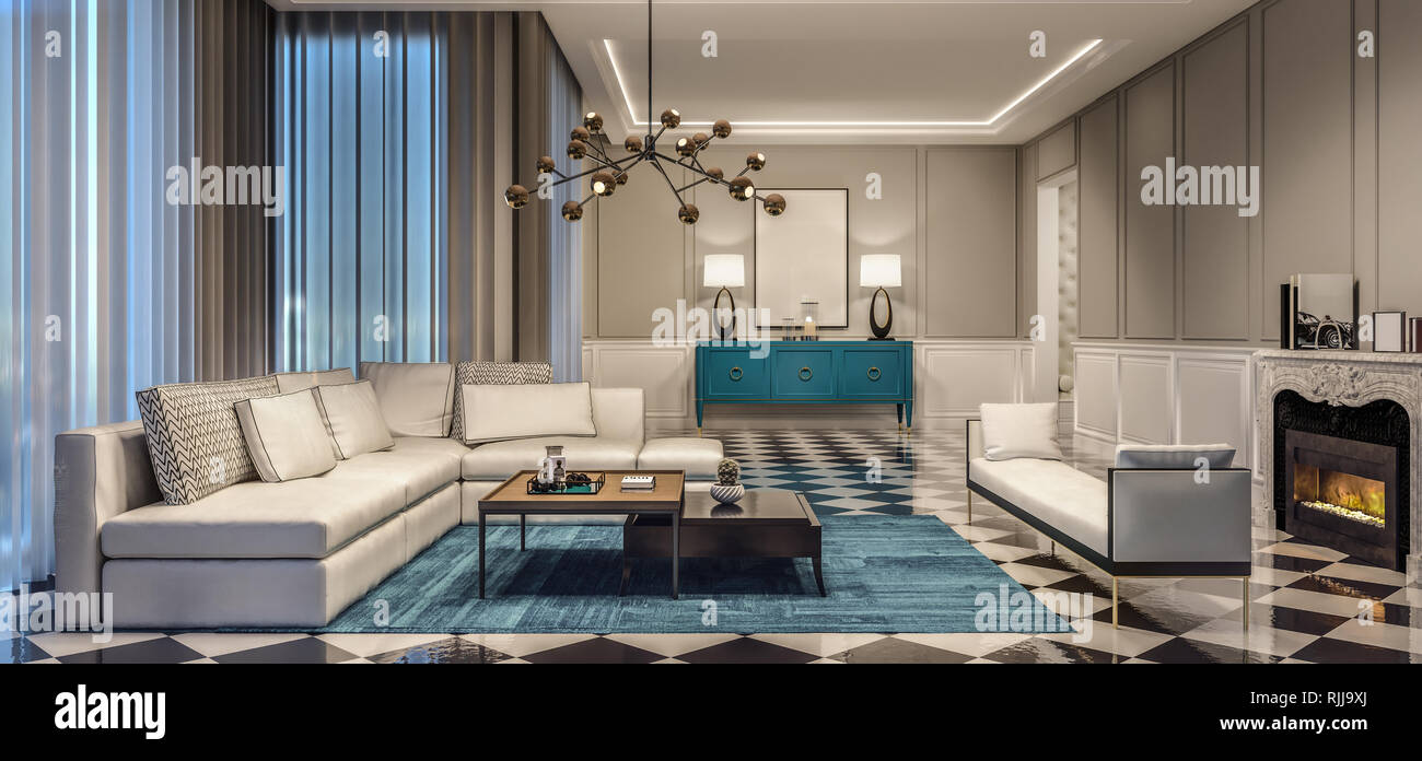 Modern Interior Design Living Room With Blue Accents And Black And
