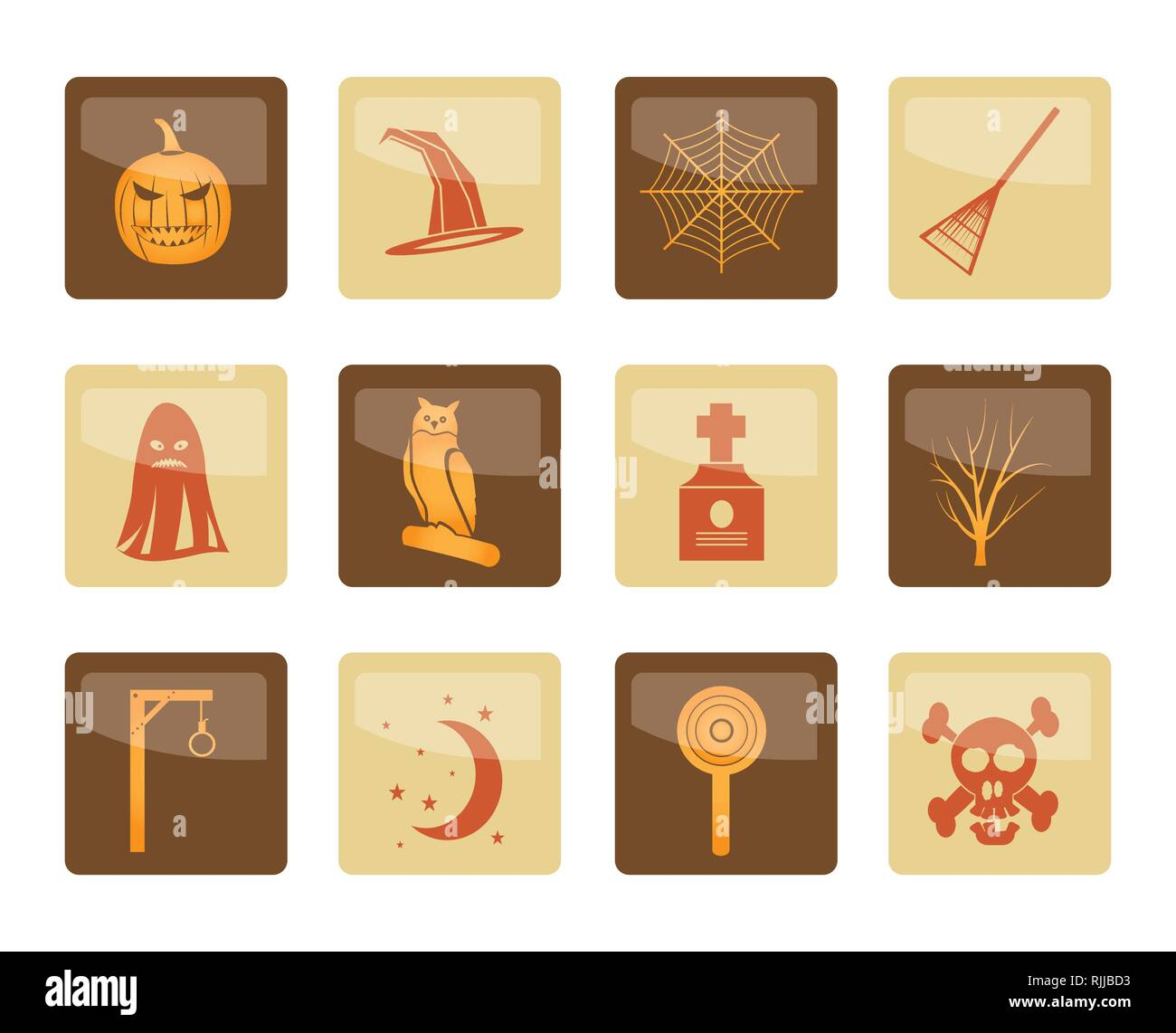 Halloween icon pack  with bat, pumpkin, witch, ghost, hat over brown background - vector icon set - Stock Vector