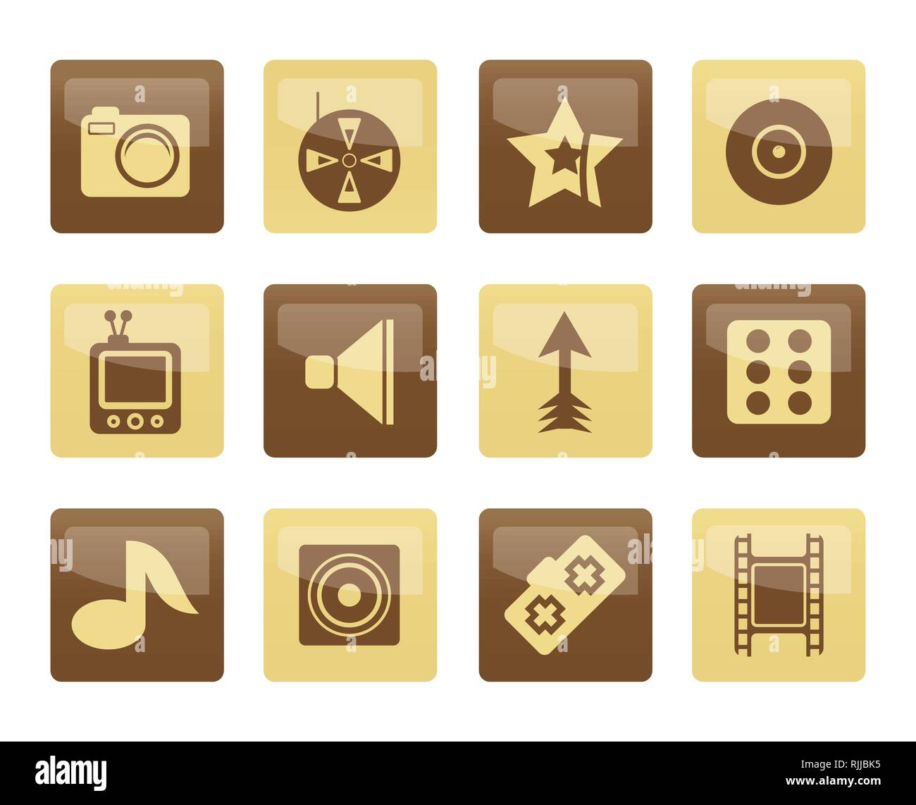 Entertainment Icons over brown background - Vector Icon Set Stock Vector