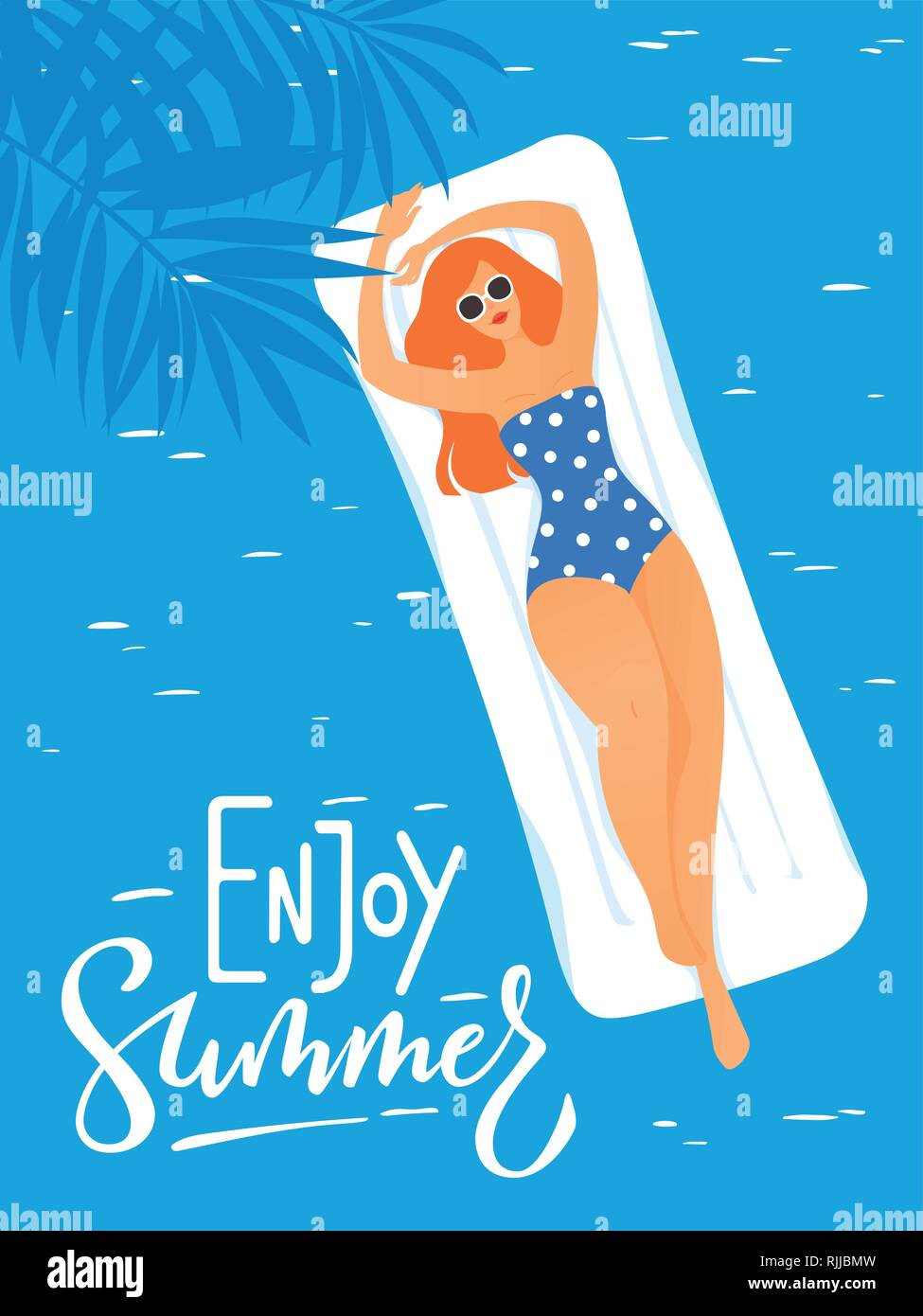 Summer poster with young woman in a swimming pool - Stock Vector
