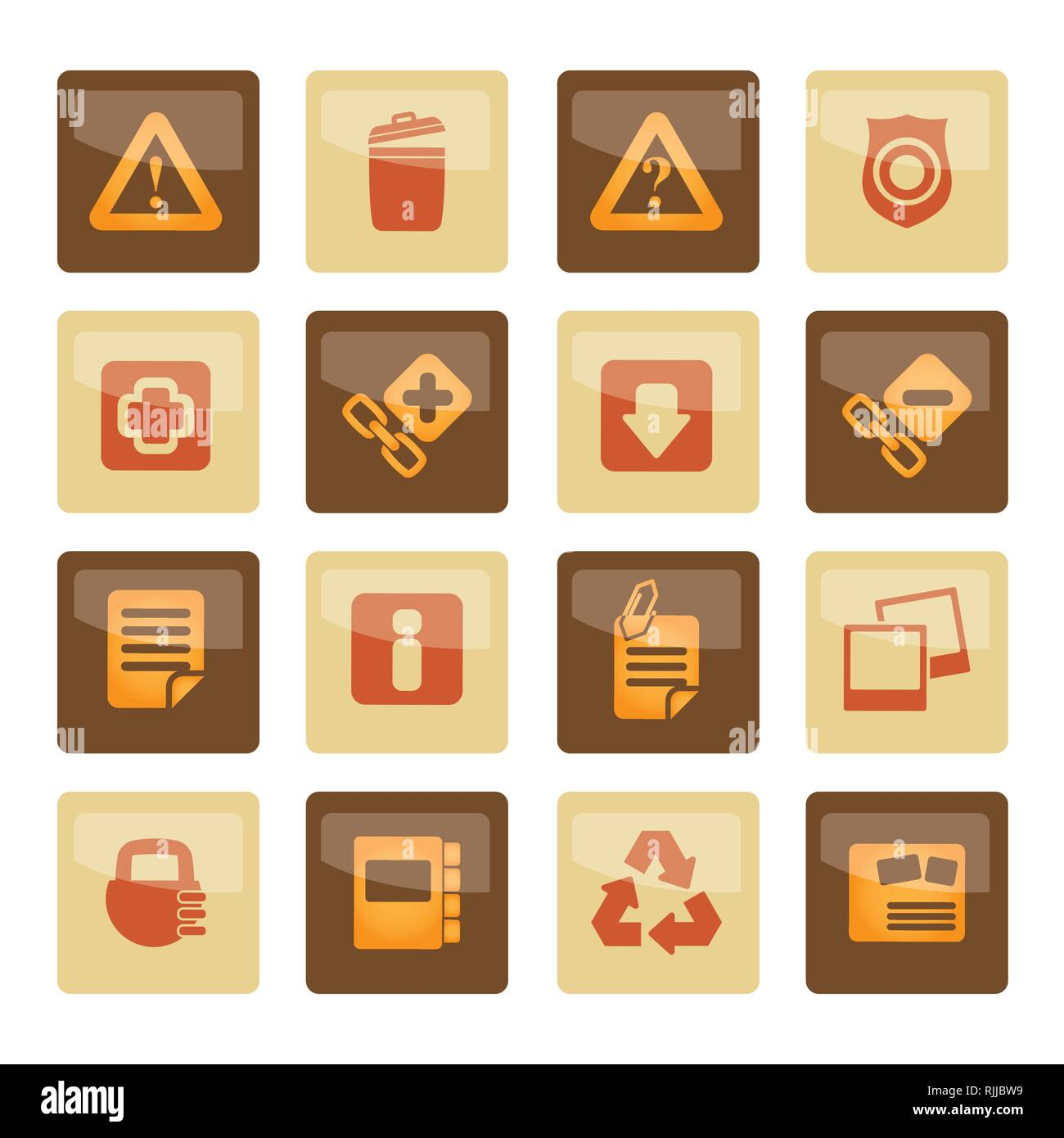 Web site and computer Icons over brown background - vector icon set - Stock Vector