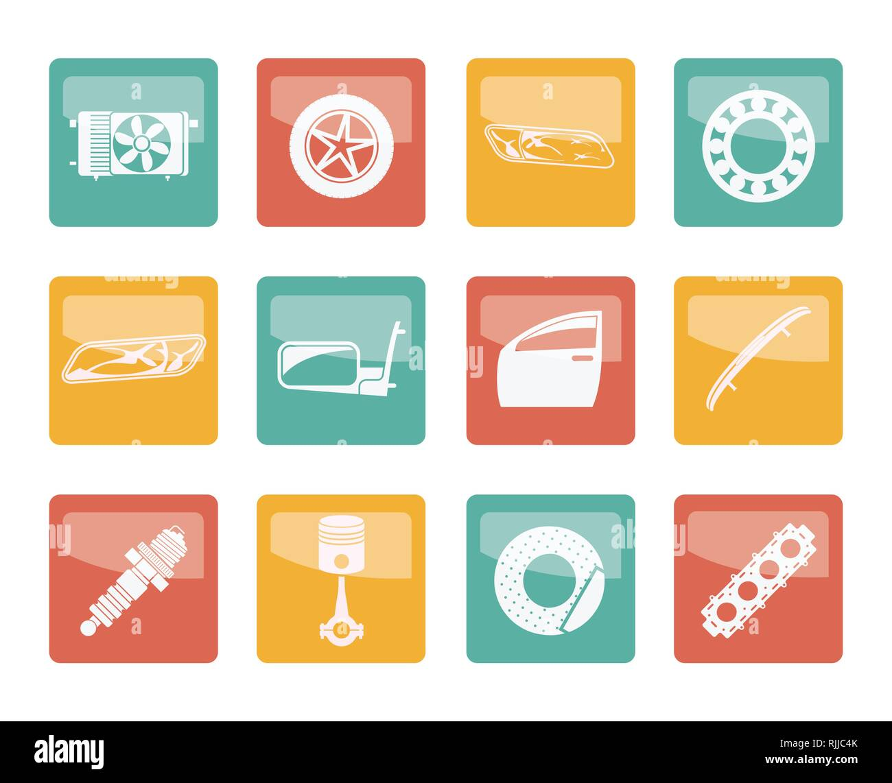 Realistic Car Parts and Services icons over colored background - Vector Icon Set 1 - Stock Vector