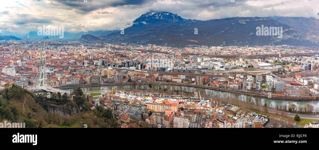 Panorama Old Town of Grenoble, France - Stock Image