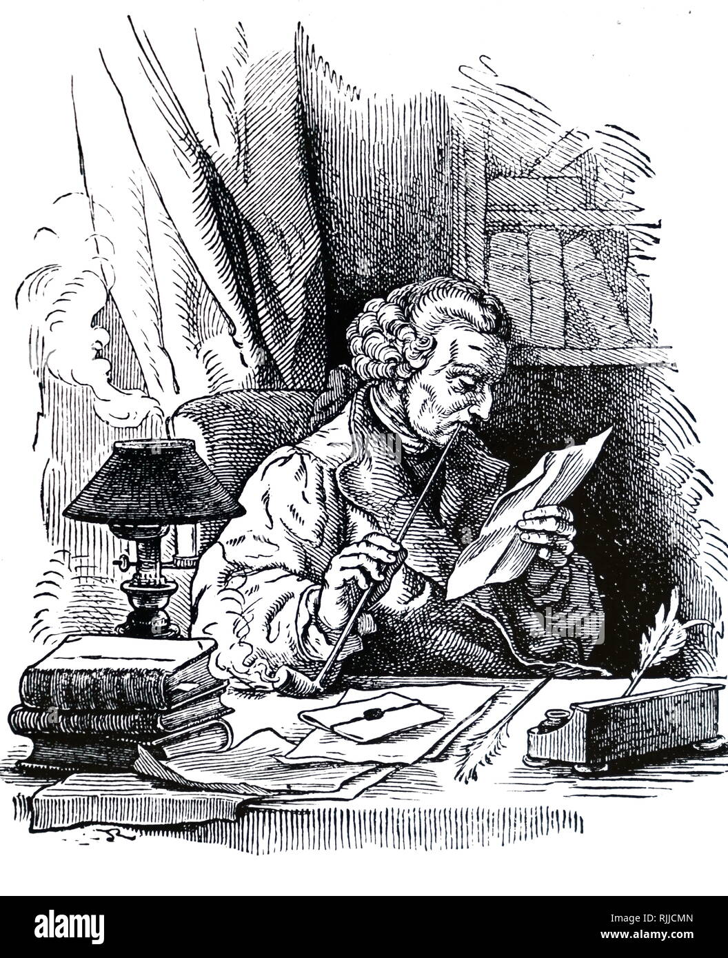 An engraving depicting a man enjoying a churchwarden pipe while reading a letter in the light of an oil lamp. Dated 19th century - Stock Image