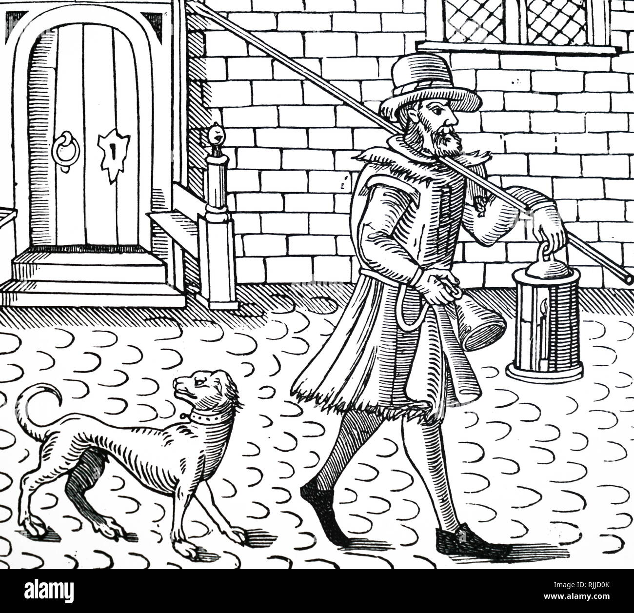 A woodcut engraving depicting a Bellman of London. A bellman or town crier is an officer of the court who makes public pronouncements as required by the court, and can also be used to make public announcements in the streets. Dated 17th century - Stock Image