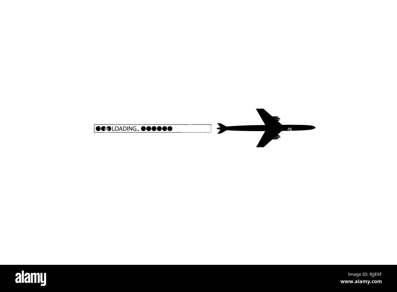 Progress loading bar with airplane. The flying apartment is black. The waypoint is for a tourist trip. Track on a white background. Vector - Stock Image