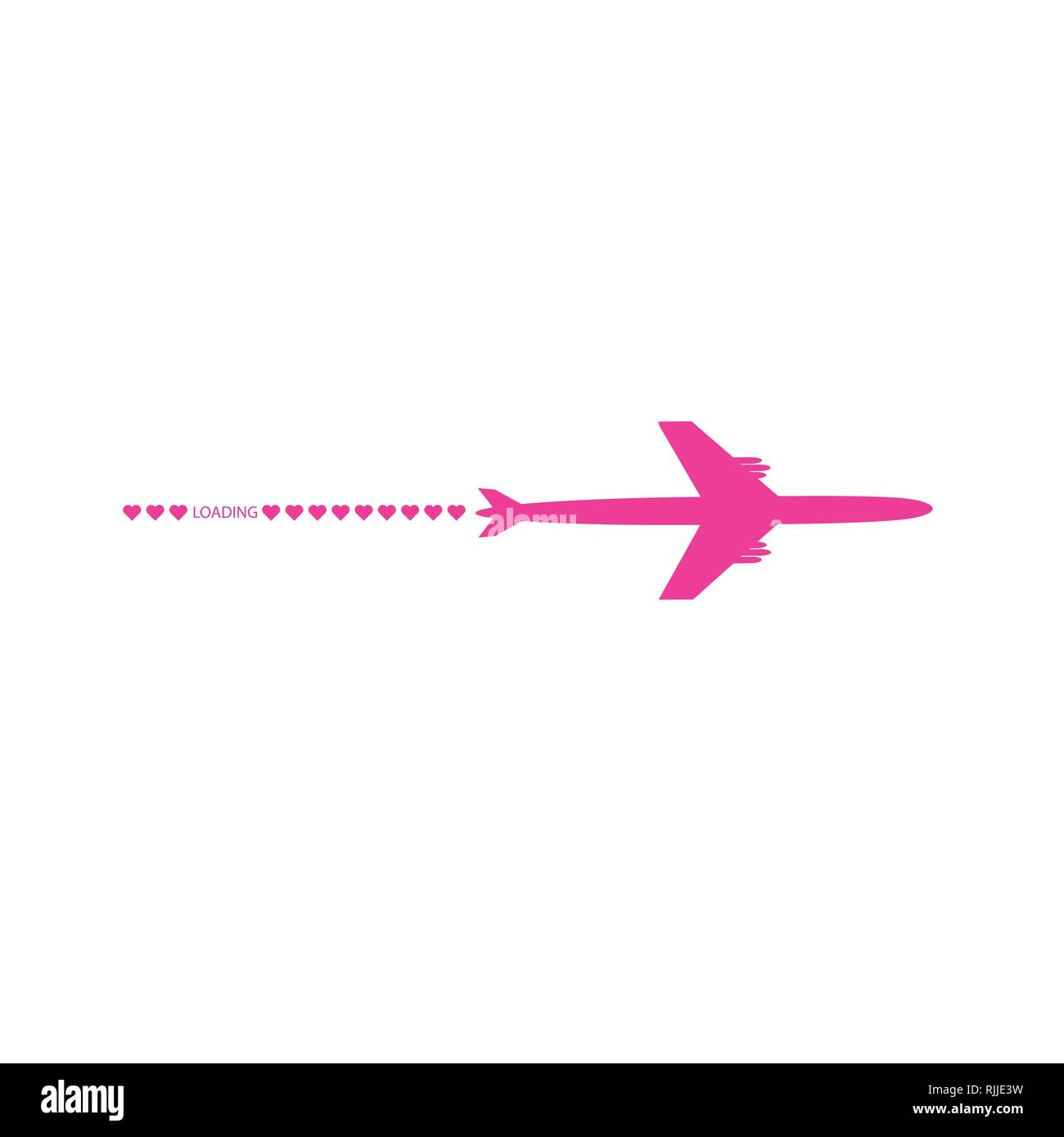 Progress loading bar with airplane and hearts. The flying apartment is black. The waypoint is for a tourist trip. Track on a white background. Vector - Stock Image