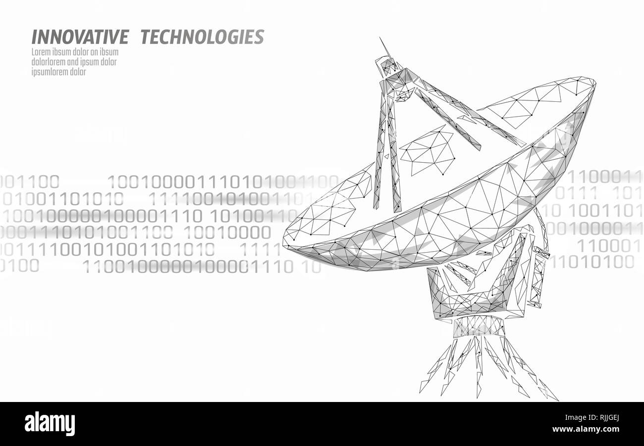 Internet security antivirus system. Low poly polygonal radar personal data security. Hacker attack detection vector illutration - Stock Image