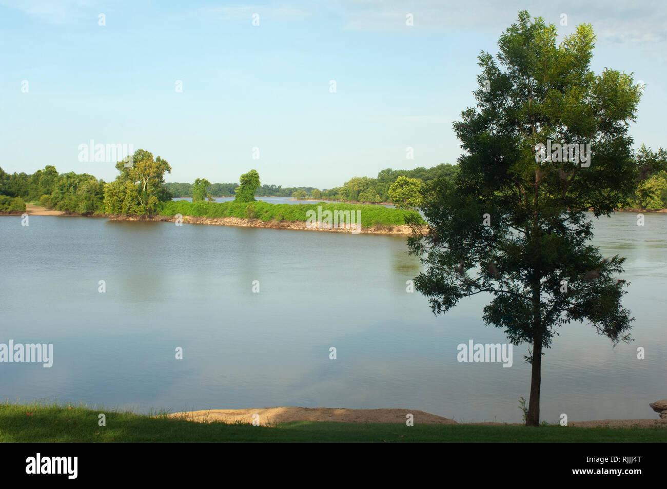 Arkansas River, looking at Oklahoma shore from Fort Smith National Historic Site, Arkansas. Digital photograph Stock Photo