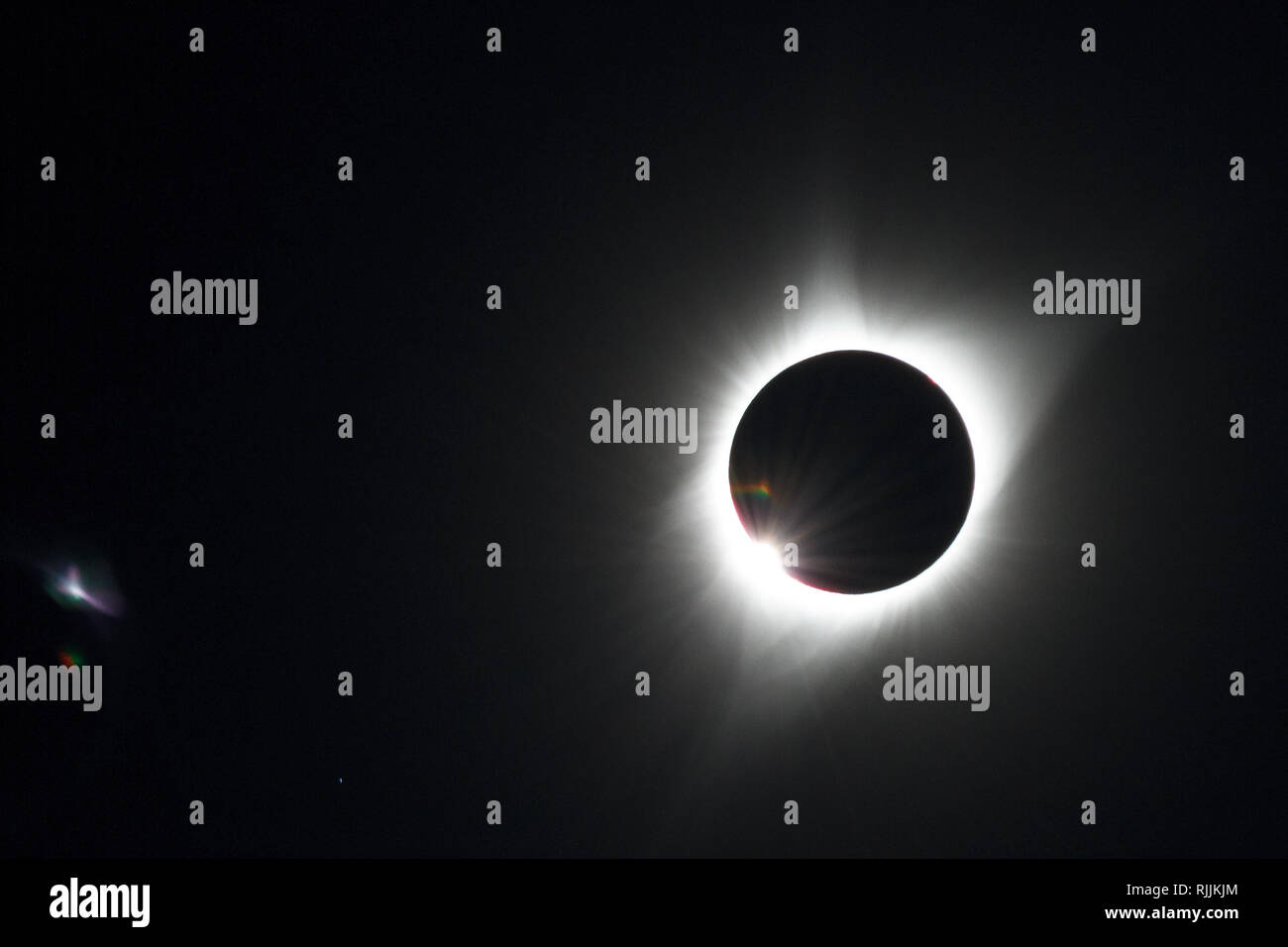'Great American Eclipse' / The Solar Eclipse of August 21st, 2017 across the USA, with very last Sunlight shining through and creating a diamond ring - Stock Image